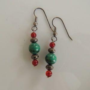 Semi precious stone earrings, silver fishhook